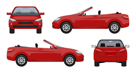 Cabriolet car. Luxury vehicle super sports car business cab on road vector realistic pictures. Auto realistic, car vehicle cabriolet, convertible automobile illustration