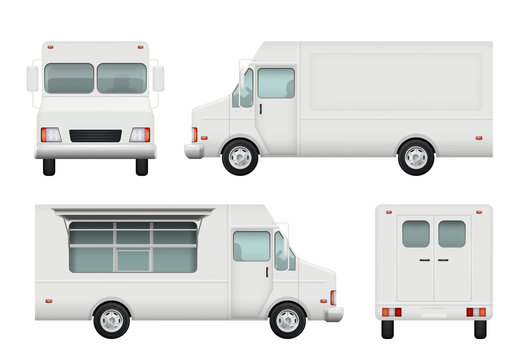Food truck realistic. White automobile of street food delivery catering 3d vector pictures. Delivery truck food, vehicle car restaurant illustration