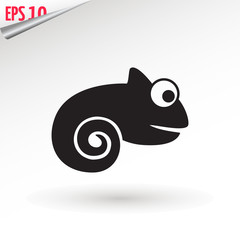 chameleon icon. Flat symbol. Isolated sign chameleon on white background. Vector Illustration.