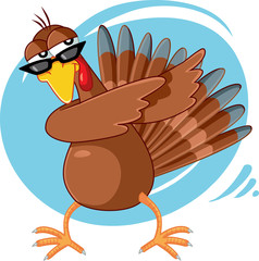 Funny Turkey Ready for Celebration Vector Cartoon