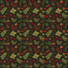 Christmas pattern with holly berry, fir branches, pine cones, green leaves and berries on dark background. Vintage floral ornament for fabric and gift wrapping paper. Xmas seamless background.