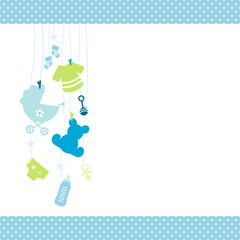 Boy Baby Card Hanging Symbol Dots Border