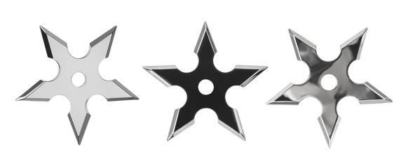 Set of ninja star shurikens