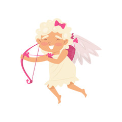 Cheerful cupid in flying action. Angel of love with bow and arrows. Baby girl with little wings. Flat vector design