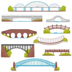 Flat vector set of brick, iron, wooden and stone bridges. Landscape elements. Architecture and city construction theme