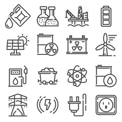 Vector line Energy, electricity, power icons set