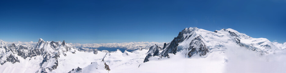 panoramic view of mountains in snow at Chamonix Mont Blanc in France Wall mural