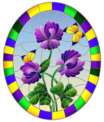 Illustration in stained glass style flower of purple clover and butterflies on a blue sky background in a bright frame,oval  image