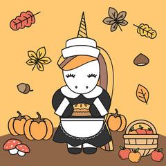 cute cartoon female unicorn pilgrim with apple pie thanksgiving vector illustration