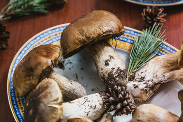 White mushrooms lie on plate. Close-up