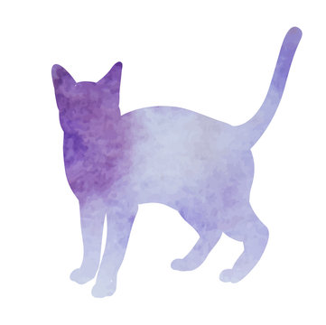 icon, on white background, purple watercolor silhouette of a cat