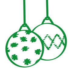 Handgezeichnete Christbaumkugeln in grün