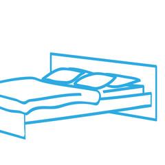 Handgezeichnetes Bett in blau