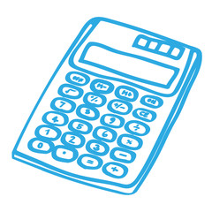 Handgezeichneter Taschenrechner in blau