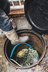 leg in boot goes down into sewer well