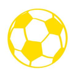 Handgezeichneter Fußball in gelb