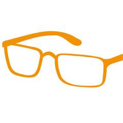 Handgezeichnete Brille in orange