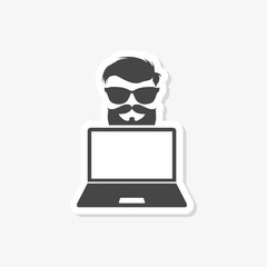 Hipster laptop sticker