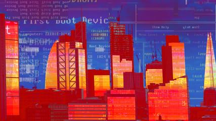 london skyline and data code