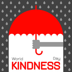 World Kindness Day. Hand offering an umbrella in the rain