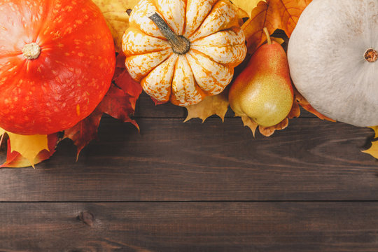 Pumpkins with colorful maple leaves and pear on dark wooden background. Autumn seasonal image with free space for your text