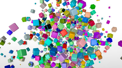 Multi-colored cubes on a white background. three-dimensional illustration. 3d rendering