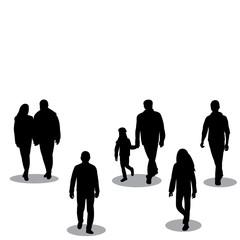 black silhouette of walking people