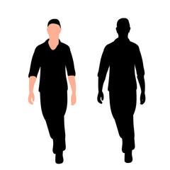 black silhouette man, boy is walking