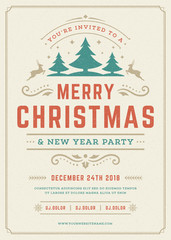 Christmas party invitation retro typography and decoration elements.