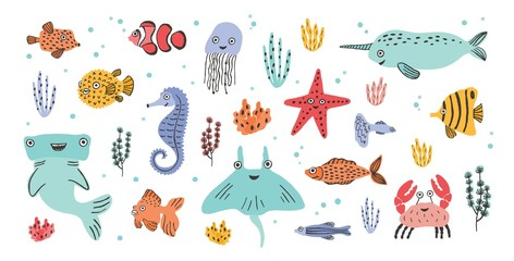 Wall Mural - Collection of cute smiling marine animals - narwhal, hammerhead, stingray, crab, fish, starfish, jellyfish, seahorse isolated on white background. Sea and ocean fauna. Cartoon vector illustration.