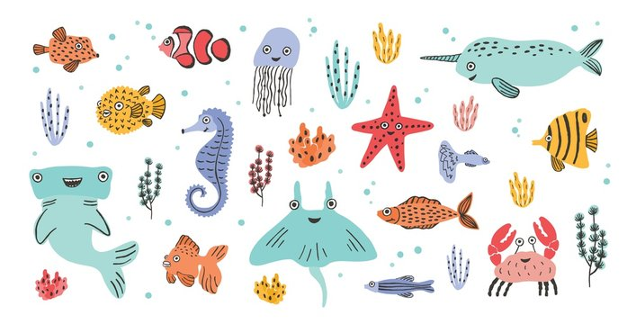 Collection of cute smiling marine animals - narwhal, hammerhead, stingray, crab, fish, starfish, jellyfish, seahorse isolated on white background. Sea and ocean fauna. Cartoon vector illustration.