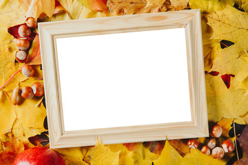 Blank wooden photo frame with hazelnuts on colorful maple leaves background. Autumn concept.