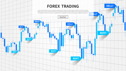 Japanese candle stick chart with buy and sell indices (pointers, markers) vector illustration. Web banner for financial projects.