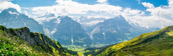 Beautiful panoramic alpine scenery in Swiss Alps near Grindelwald