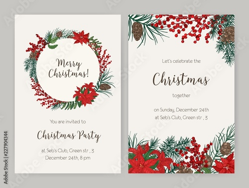 set of christmas flyer or party invitation templates decorated with