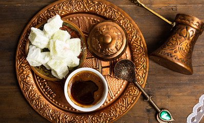 Turkish coffee and delight dessert with pistachio