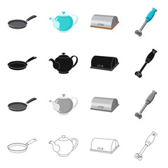 Vector illustration of kitchen and cook sign. Collection of kitchen and appliance stock symbol for web.