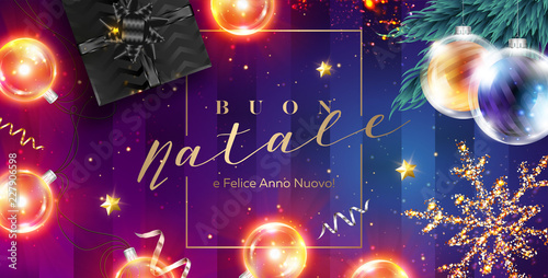 buon natale e felice anno nuovo vector card merry christmas and happy new year in