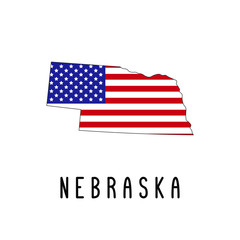 Vector map of Nebraska painted in the colors American flag. Silhouette or borders of USA state. Isolated vector illustration