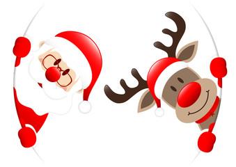Santa & Rudolph Round Banner Inside