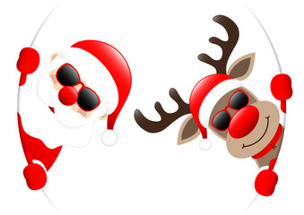 Santa & Rudolph Sunglasses Round Banner Inside
