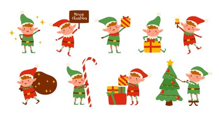 Collection of Christmas elves isolated on white background. Bundle of little Santa's helpers holding holiday gifts and decorations. Set of adorable cartoon characters. Flat vector illustration. Wall mural