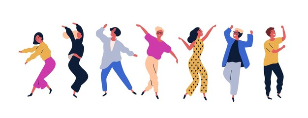 Group of young happy dancing people or male and female dancers isolated on white background. Smiling young men and women enjoying dance party. Colorful vector illustration in flat cartoon style. Fotoväggar