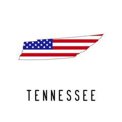Vector map of Tennessee painted in the colors American flag. Silhouette or borders of USA state. Isolated vector illustration
