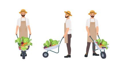 Farmer or agricultural worker pulling wheelbarrow full of gathered crops. Male cartoon character isolated on white background. Front, back and side views. Colorful vector illustration in flat style.