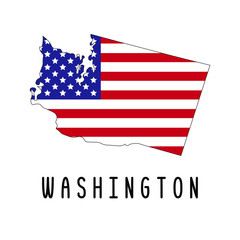 Vector map of Washington painted in the colors American flag. Silhouette or borders of USA state. Isolated vector illustration