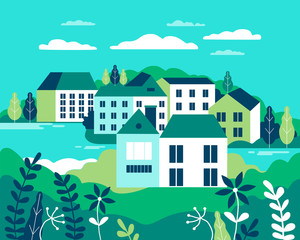 Poster Green coral Village landscape flat vector illustration. Buildings, hills, lake, flowers and trees, abstract background for header images for websites, banners, covers