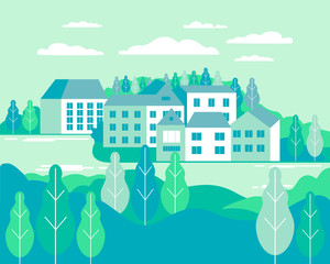 Village landscape flat vector illustration. Buildings, hills, lake, flowers and trees, abstract background for header images for websites, banners, covers