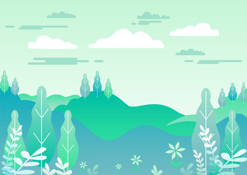 Village landscape in trendy flat and linear style vector illustration. Mountains and hills, flowers and trees, abstract background with copy space for header images for websites, banners, covers