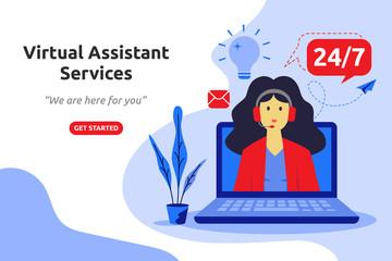 Online virtual assistant services concept modern flat design. Vector illustration
